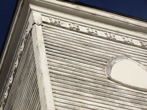 Close-up of exterior trim on steeple