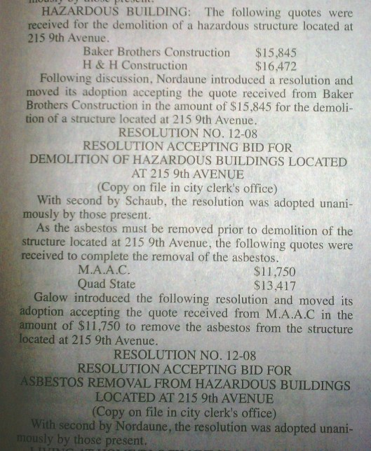 Demolition notice of the Orwoll House from the local newspaper